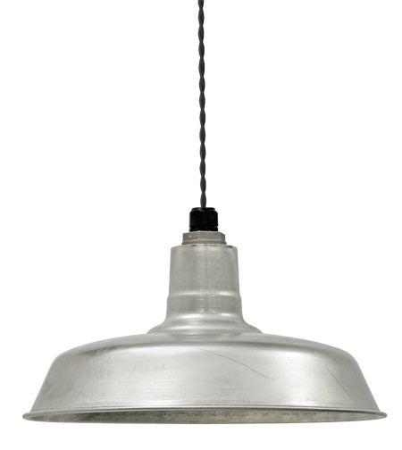 "Warehouse Barn Light Fixtures: Industrial Twist Cord 16"" Warehouse Pendant, Galvanized"