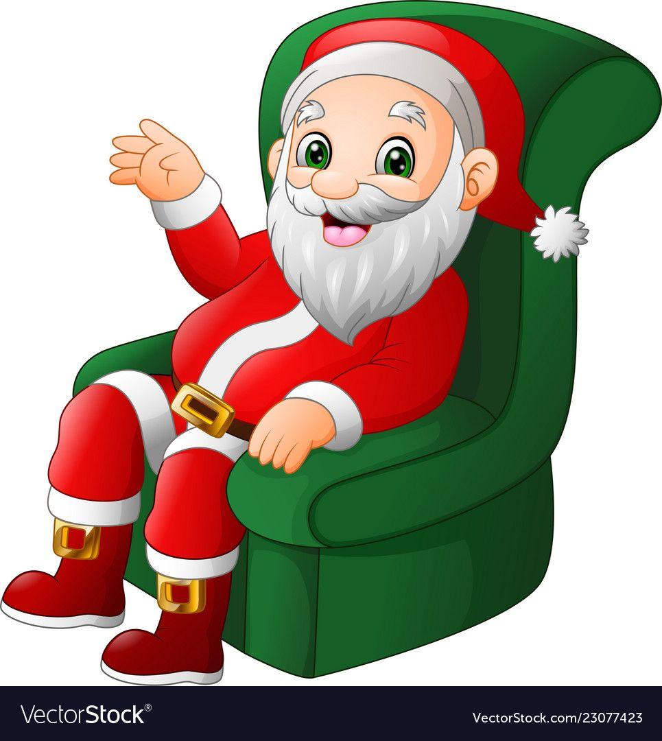 Cartoon Santa Claus Sitting On Green Sofa Vector Image Santa Claus Cartoon Green Sofa