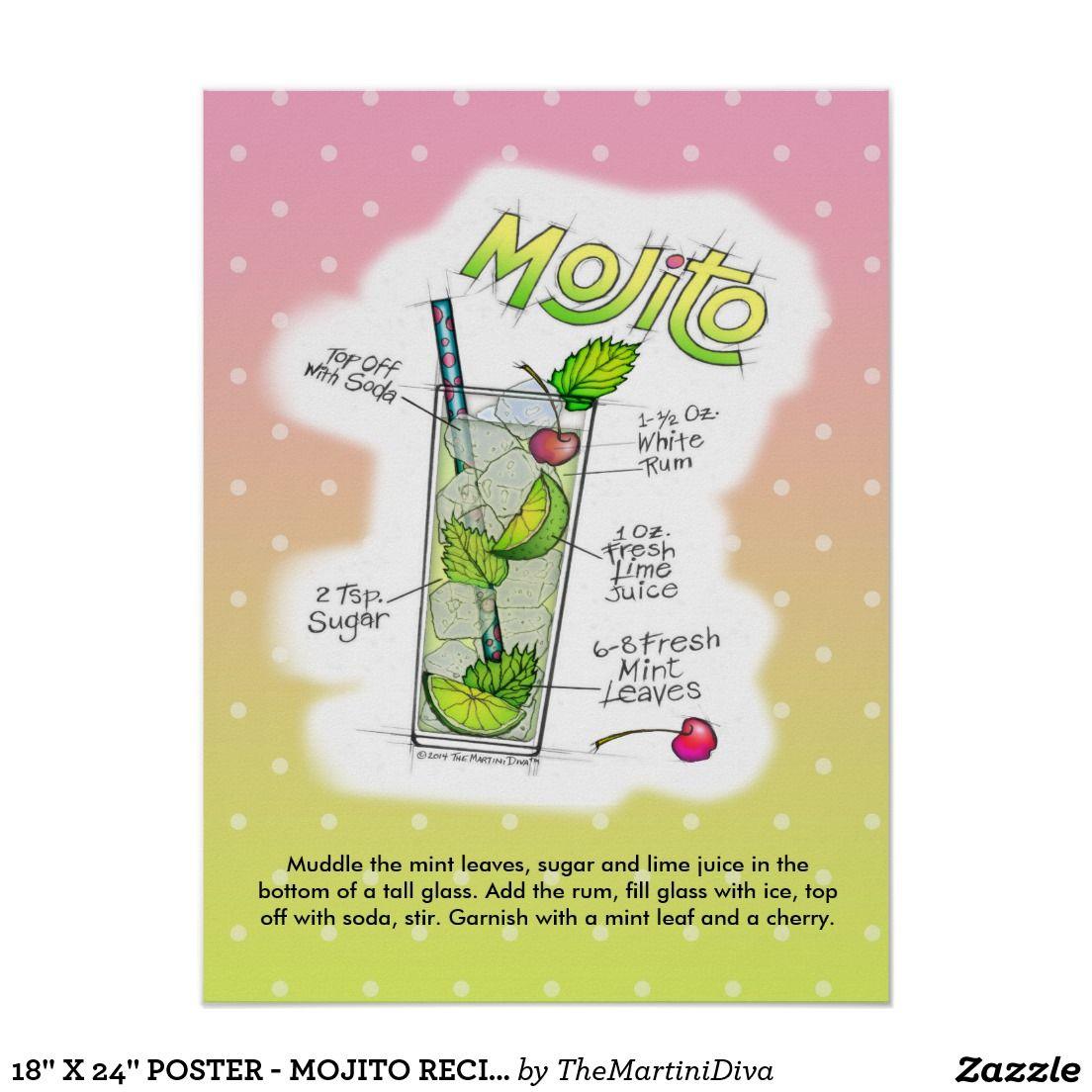18 X 24 Poster Mojito Recipe Cocktail Art Zazzle Com Cocktail Art Mojito Recipe Mojito