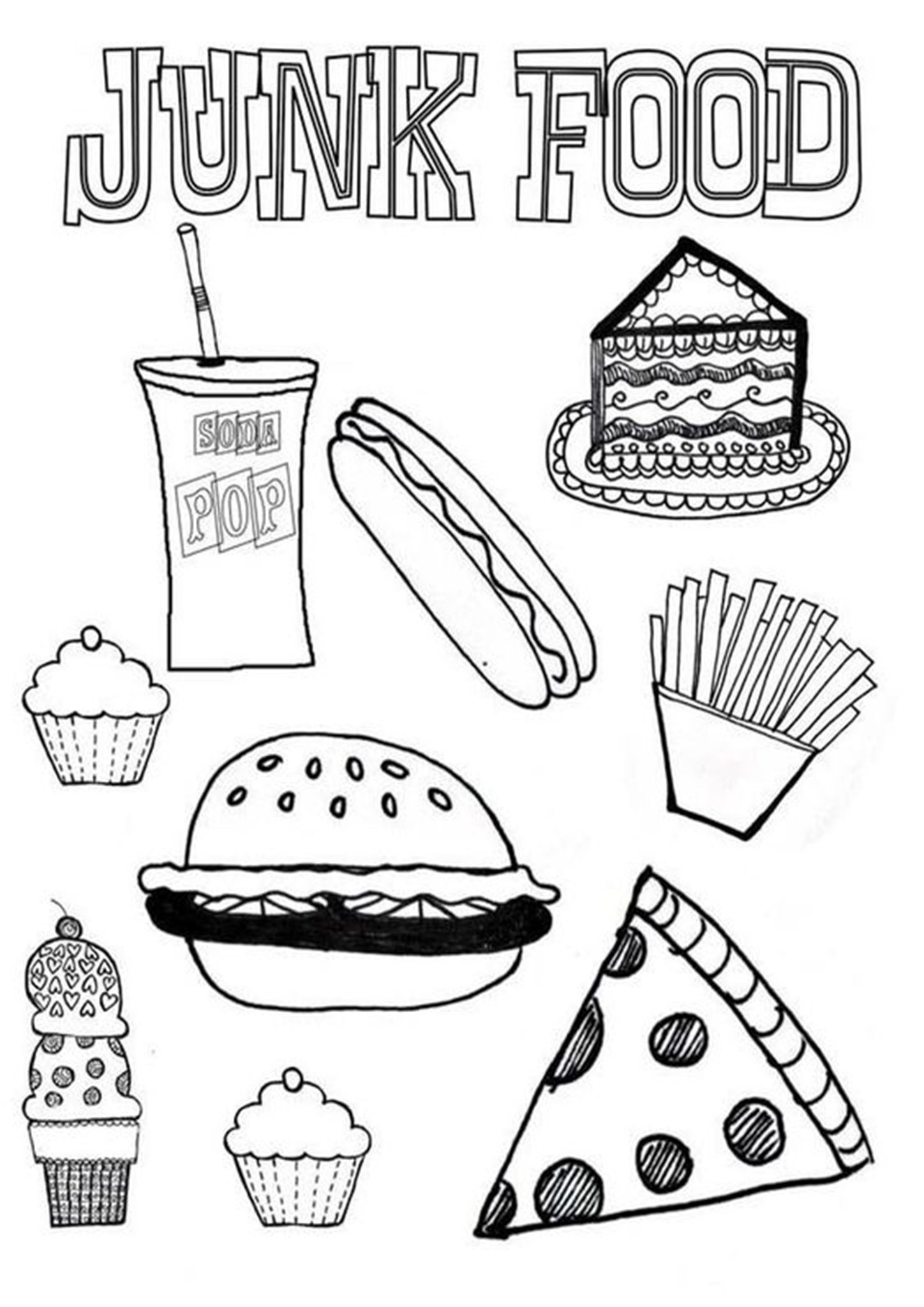 Free Easy To Print Food Coloring Pages Food Coloring Pages Food Coloring Healthy And Unhealthy Food