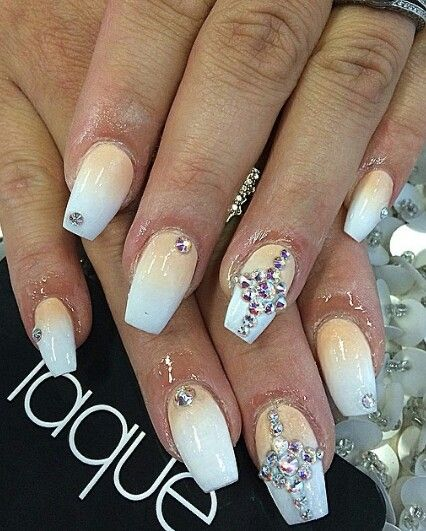 Here Comes The Bride With Some Awesome Nails: Rhinestone Pastel Ombre Nails (With Images)