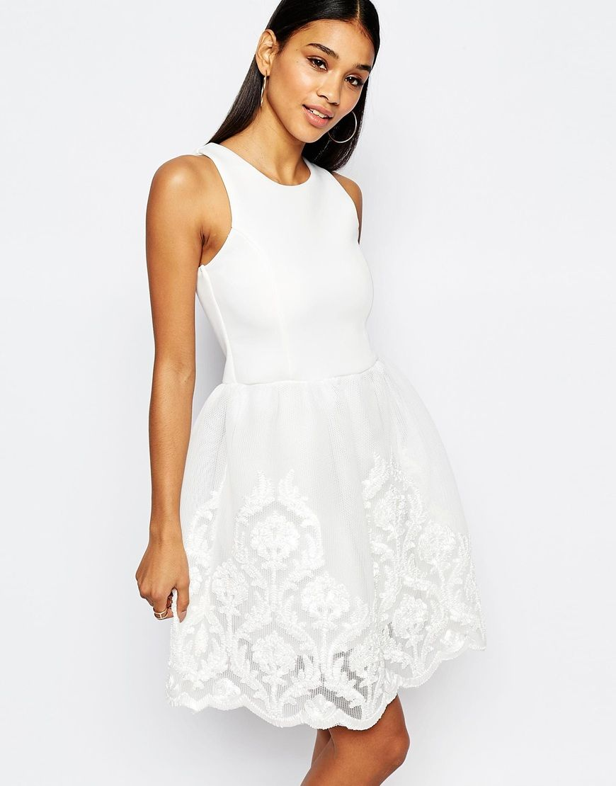 Lipsy Full Prom Skater Dress With Lace Embroidered Skirt | Julie\'s ...
