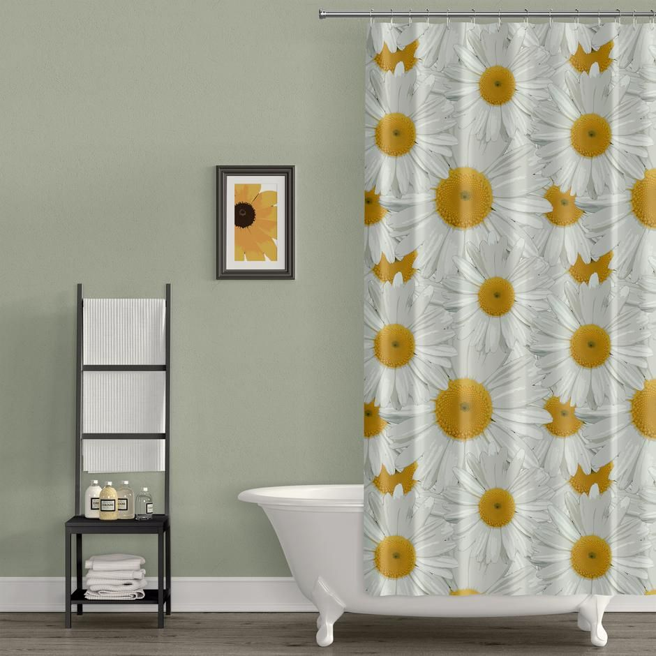Daisy Print Shower Curtain In 2020 Fabric Shower Curtains