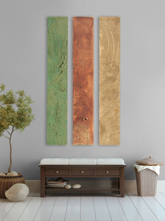 Earth tone Modern abstract painting - 3 panel abstract wall art ...