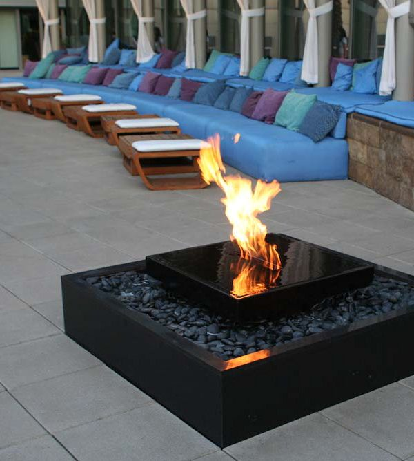 W Hotel Fire Water Contemporary Water Feature Backyard