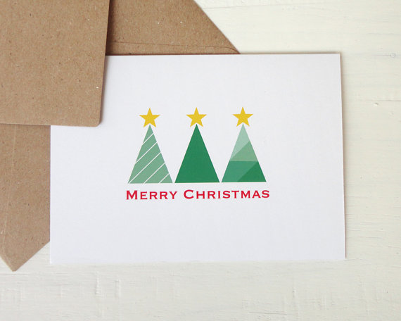 christmas greeting card modern christmas trees by avenircards 450 - Modern Christmas Cards