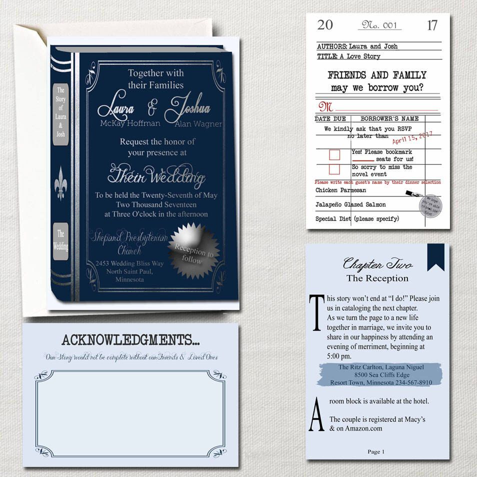 The Literary Wedding ~ Book and Library Themed Wedding Invitation ...