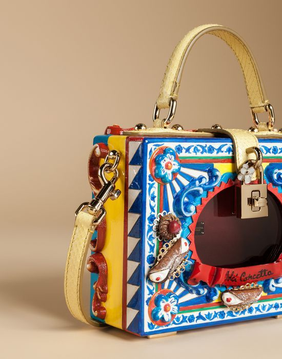 a52b0fd37585 DOLCE BOX PASTICCERIA BAG IN HAND PAINTED WOOD