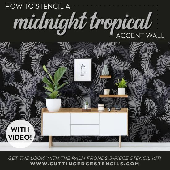 Accent Wall Touch Of Tropical: A Midnight Tropical Accent Wall Using Palm Fronds Stencils