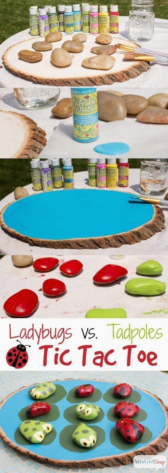 Photo of Craft Project Ideas: Ladybugs Vs. Tadpoles Outdoor Tic Tac Toe Game
