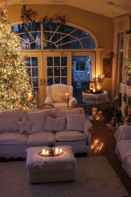 Candle Light Christmas Living Rooms Cozy Christmas Christmas Home
