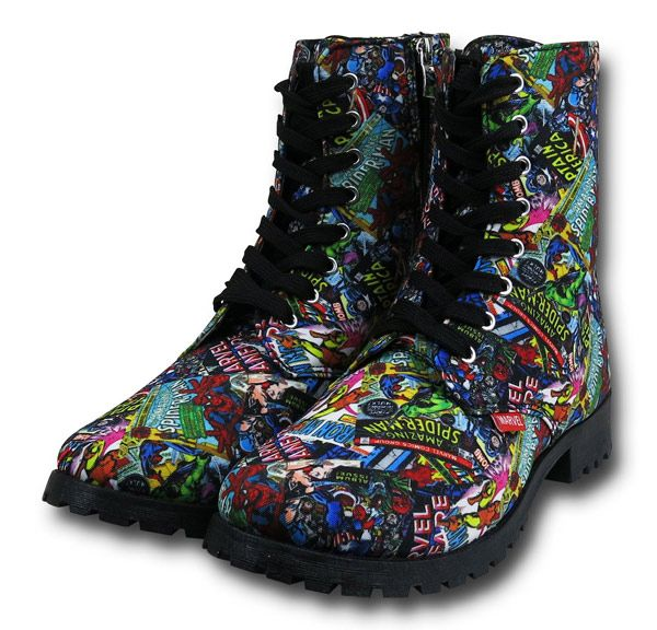 "It used to be a bad thing when people said ""Your mom wears combat boots"", but not these days, especially if we're talking these Marvel Comic Print Women's Boots. Your mother would look awesome with these Marvel Comic Print Women's Boots. You never know when you'l"