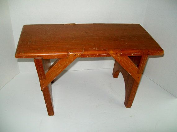 Vintage Wooden Stool Natural Wood Stained Small by NanNasThings