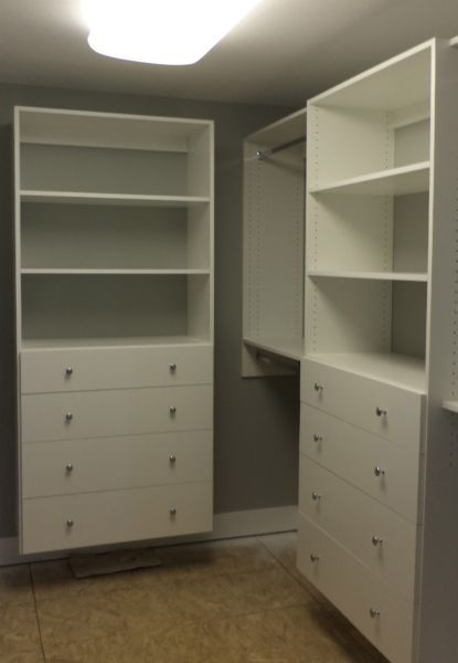 Walk In Closet  Wall Mounted W/large Drawers, Shelves U0026 Double Hanging