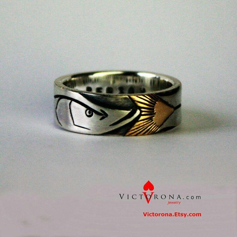 Fishing Mens Fish Wedding Ring Meteorite Wedding Band Wedding Rings Fishing Wedding