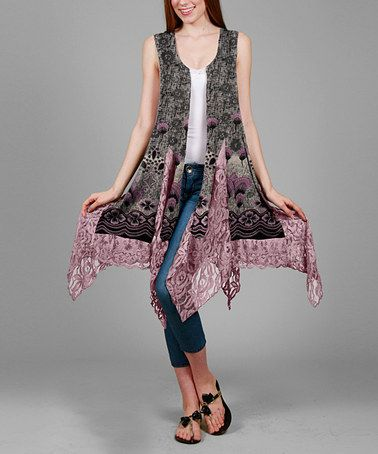 Another great find on #zulily! Pink & Gray Abstract Handkerchief Vest - Plus #zulilyfinds