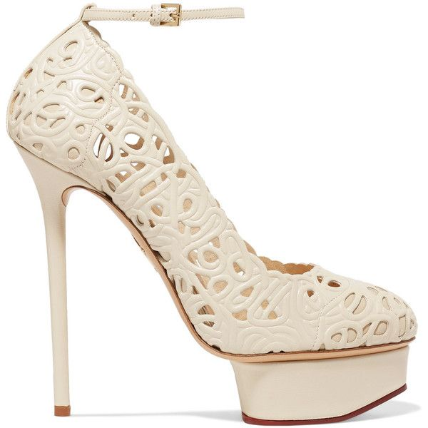 Charlotte Olympia Scribble Dolores laser-cut leather pumps (€425) ❤ liked on