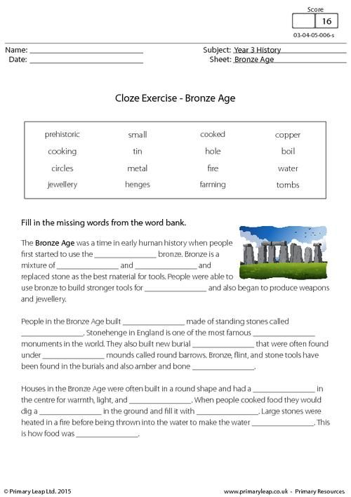Primaryleap Cloze Exercise The Bronze Age Worksheet Kids