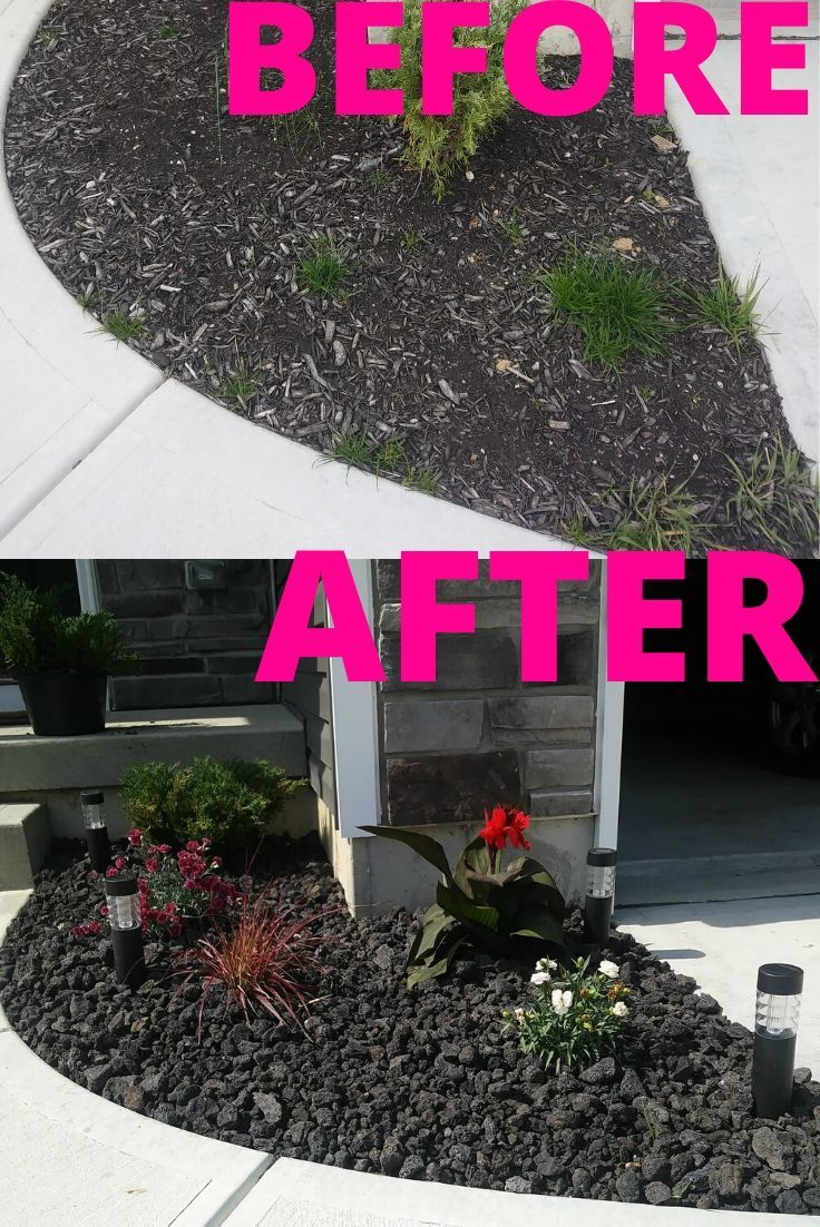 Photo of Flower Bed In front of house: A Before An After Idea with Black Lava Rock