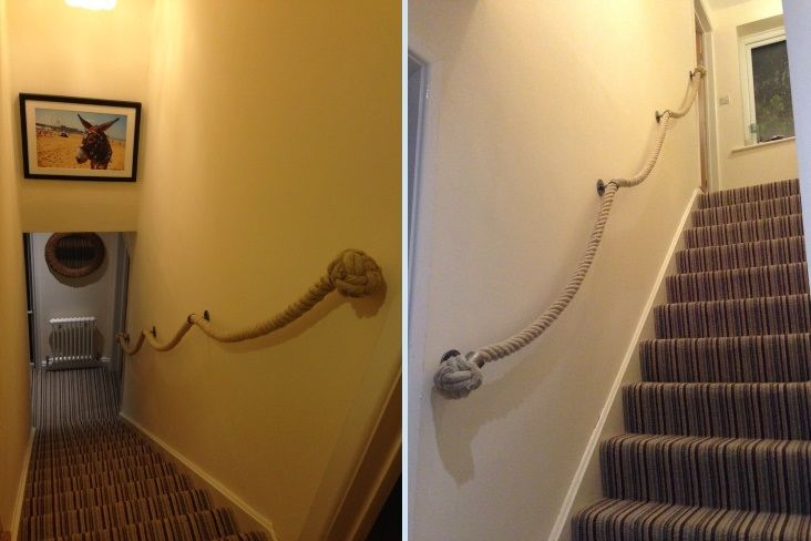 Best 36Mm Natural H*Mp Rope Stairs Banister With Brushed Steel 400 x 300