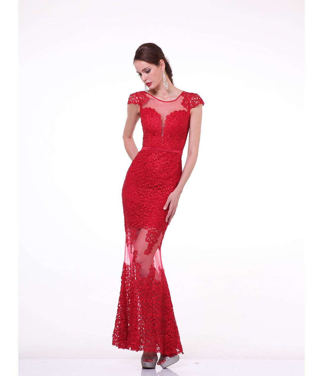 Red embroidered cap sleeve sheer gown prom dresses fashion
