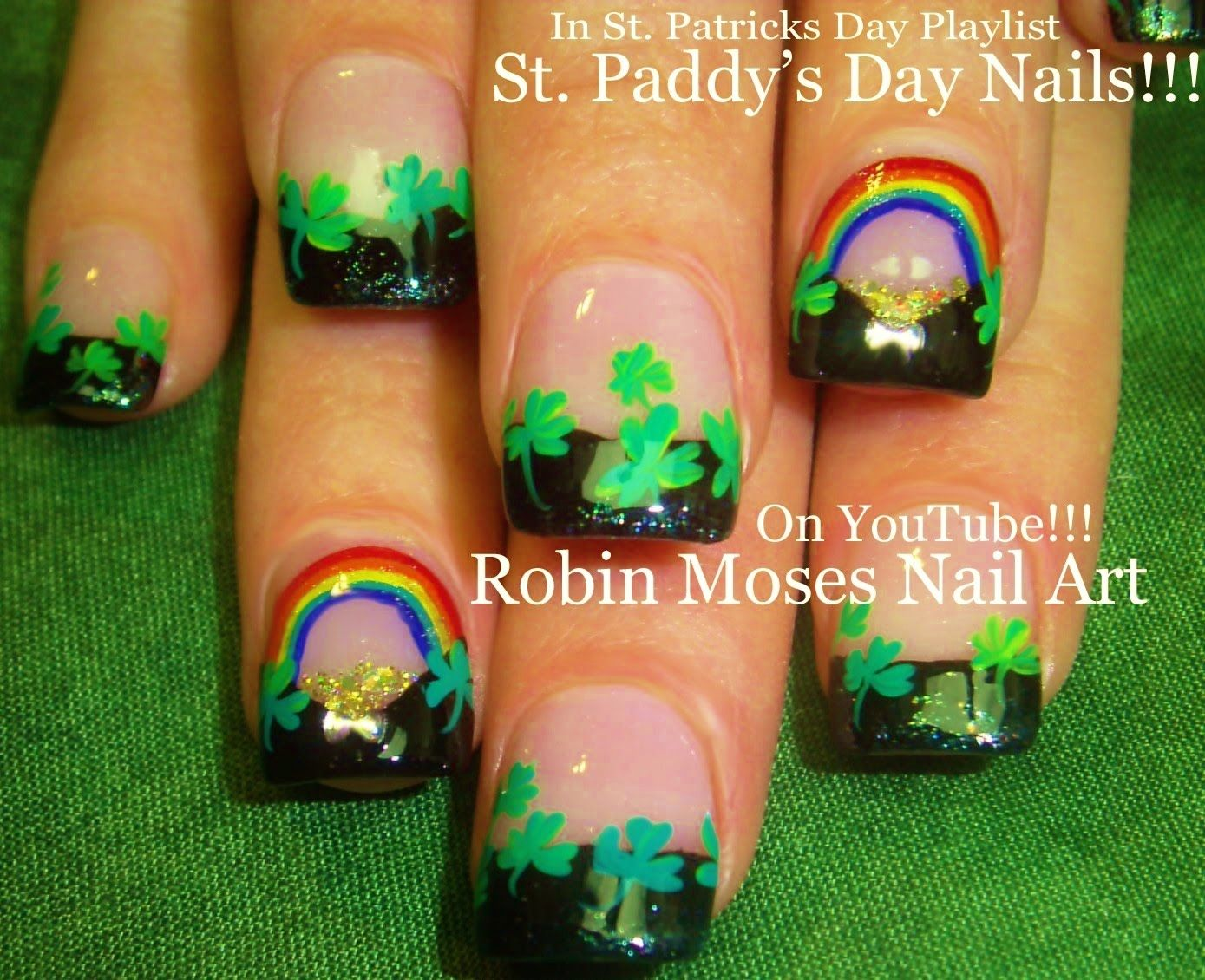 Nail Art Ideas shamrock nail art tutorial : Nail Art Tutorial | St. Patricks Day Nails | Rainbows and Shamrock ...
