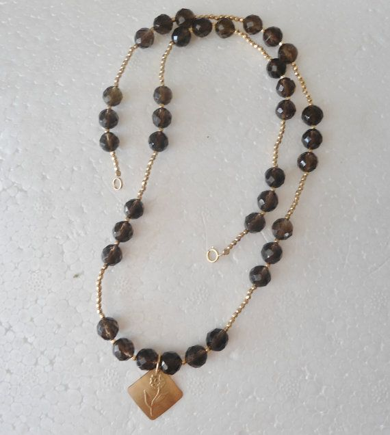 Smoky Quartz Gold filled necklace  Handmade by MKArtDesign on Etsy