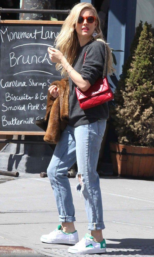 Sienna Miller with Roger Vivier bag in New York