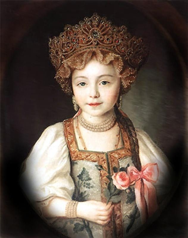 Russian costume in painting. Unknown artist. Portrait of Grand Duchess Alexandra Pavlovna in Russian Costume. Circa 1790 - 1800. Alexandra Pavlovna was a beloved granddaughter of Russian Empress Catherine the Great.