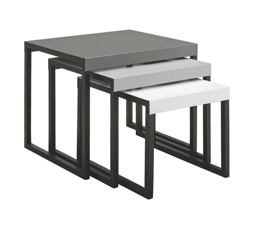 Argos High Gloss Table And Chairs: Buy Habitat Kilo Metal Nest Of Tables - Grey