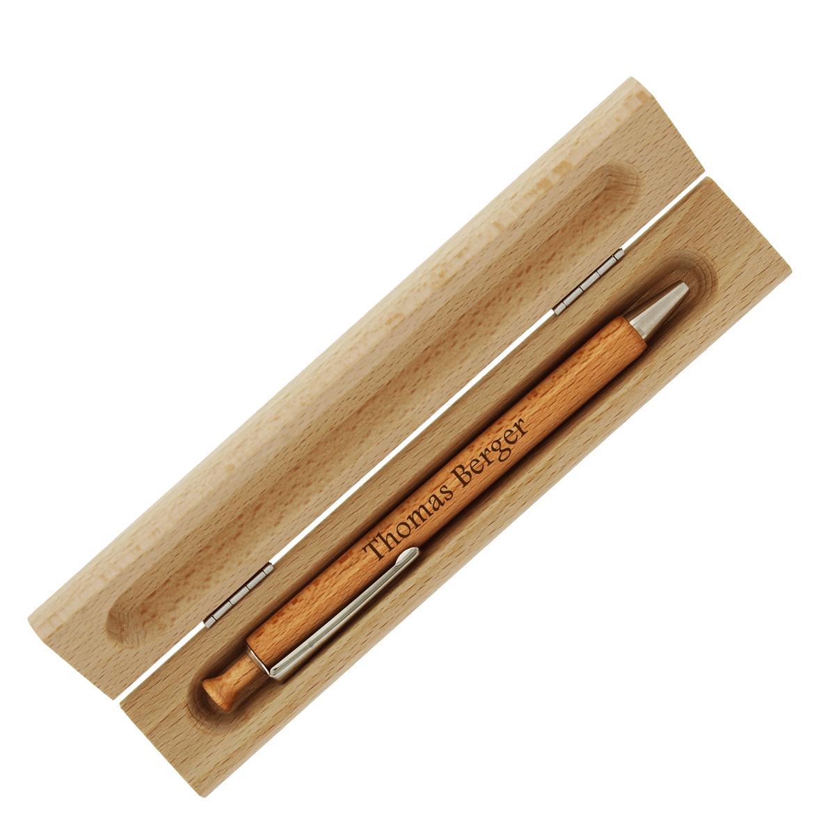 Wunschgravur Holz-Kugelschreiber im Etui inkl