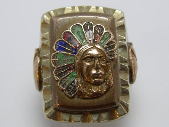Antique Mexican American Indian Chief Ring With Conquistador Side Shields Huge Indian Chief Biker Rings Vintage Mexican