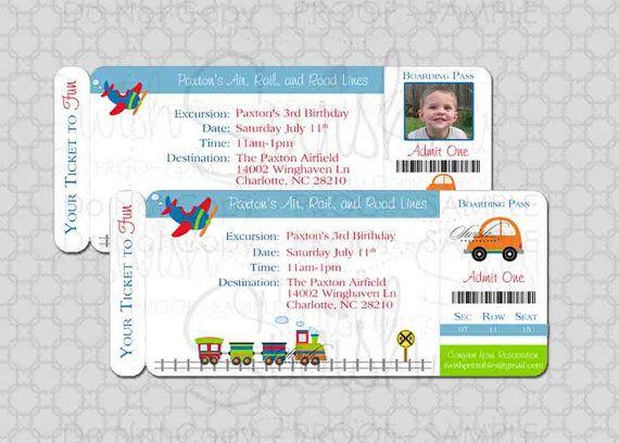 Transportation Birthday Invitation - Boarding Pass Invite - Photo - Planes, trains and automobiles, cars, digital file