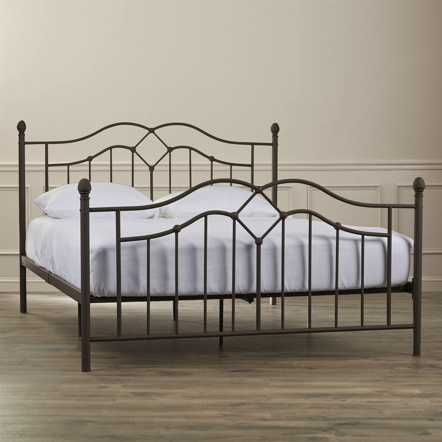 Full size Modern Classic Metal Bed Frame in Brushed Bronze Finish ...