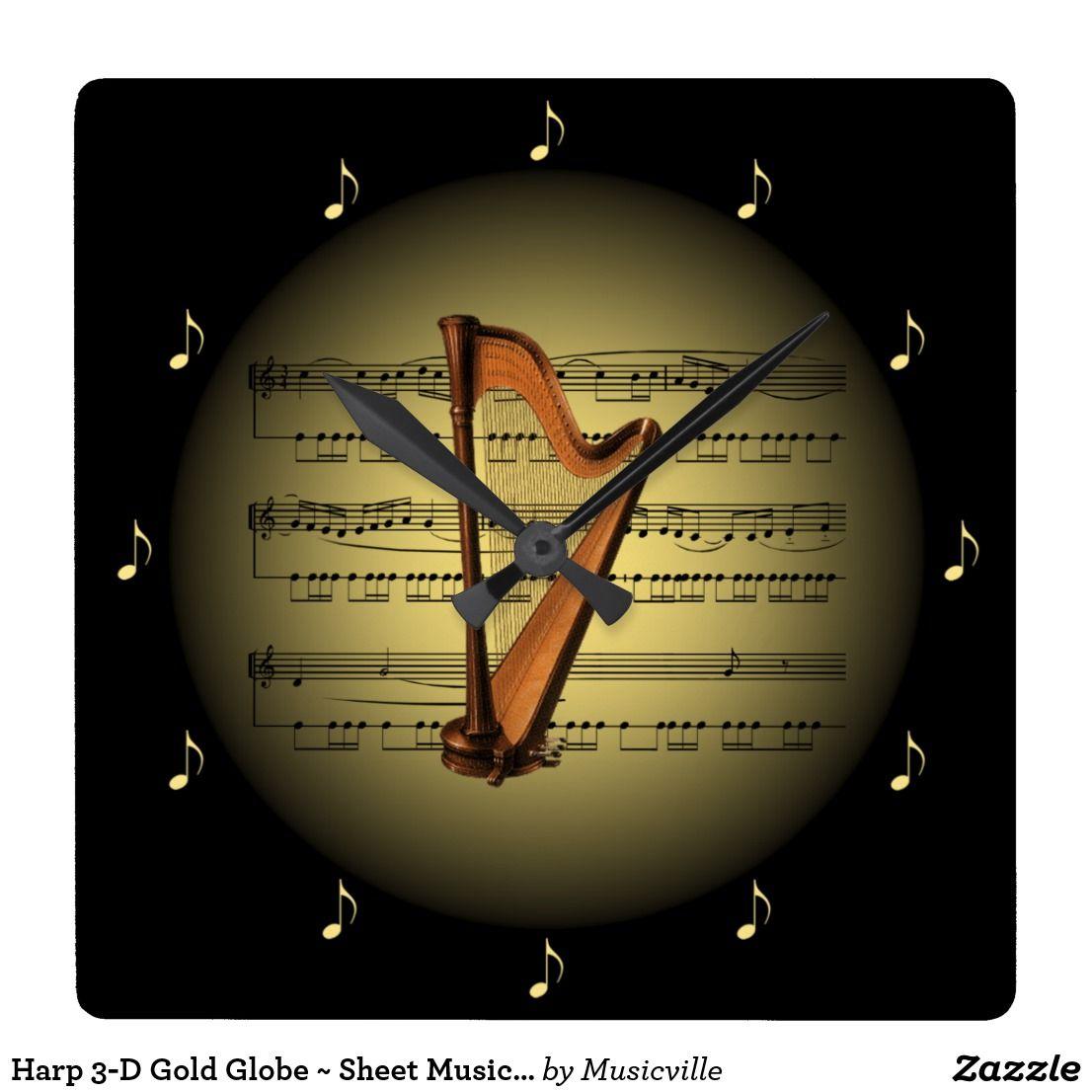 cebe5b47aba814872b18c990fff9e34b harp 3 d gold globe ~ sheet music ~ black bg ~ * ~ square wall clock