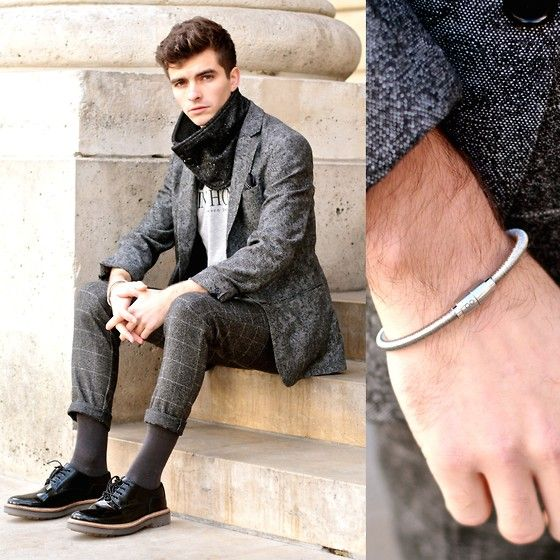 """Get this look: http://lb.nu/look/6839800  More looks by Matthias Cornilleau: http://lb.nu/stylnoxe  Items in this look:  Antonio Ben Chimol Silvered Bracelet, River Island Tweed Paisley Blazer, Wholesale 7 Check Heather Grey Pants, Seven Tees """"Saint Honoré"""" T Shirt, Clarks Patent Brogues With Pvc Soles, Véritable Koudou Tweed Buttoned Neck Strap   #elegant #minimal #preppy #dandy #outfit #shadesofgrey"""