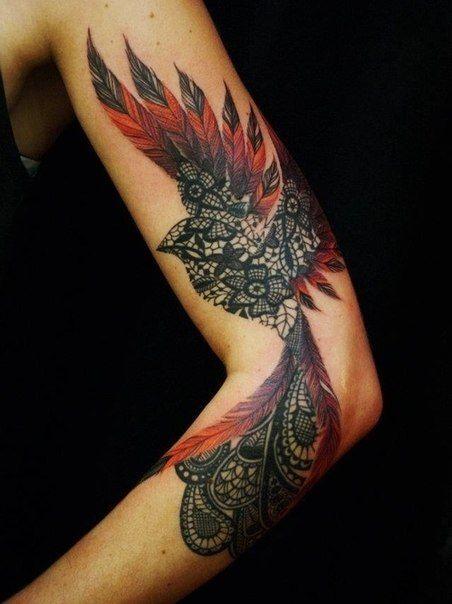 Exemple Tatouage Phoenix Femme Mandala Couleur Rouge Awesome