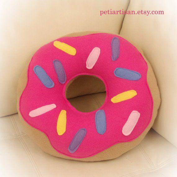 Doughnut Pillow Donut Pillow Food Pillow Pink Frosting Pillow Toy Pillow 3d Pillow Food Pillows Pink Frosting Pillows