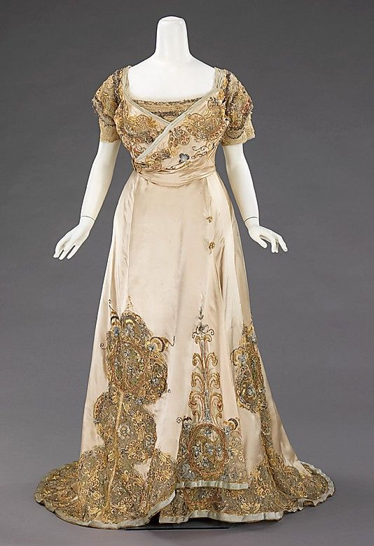 Ball gown House of Worth  (French, 1858–1956)   Designer: Jean-Philippe Worth (French, 1856–1926) Date: 1896–1900 Culture: French Medium: silk, rhinestones, metal. Front
