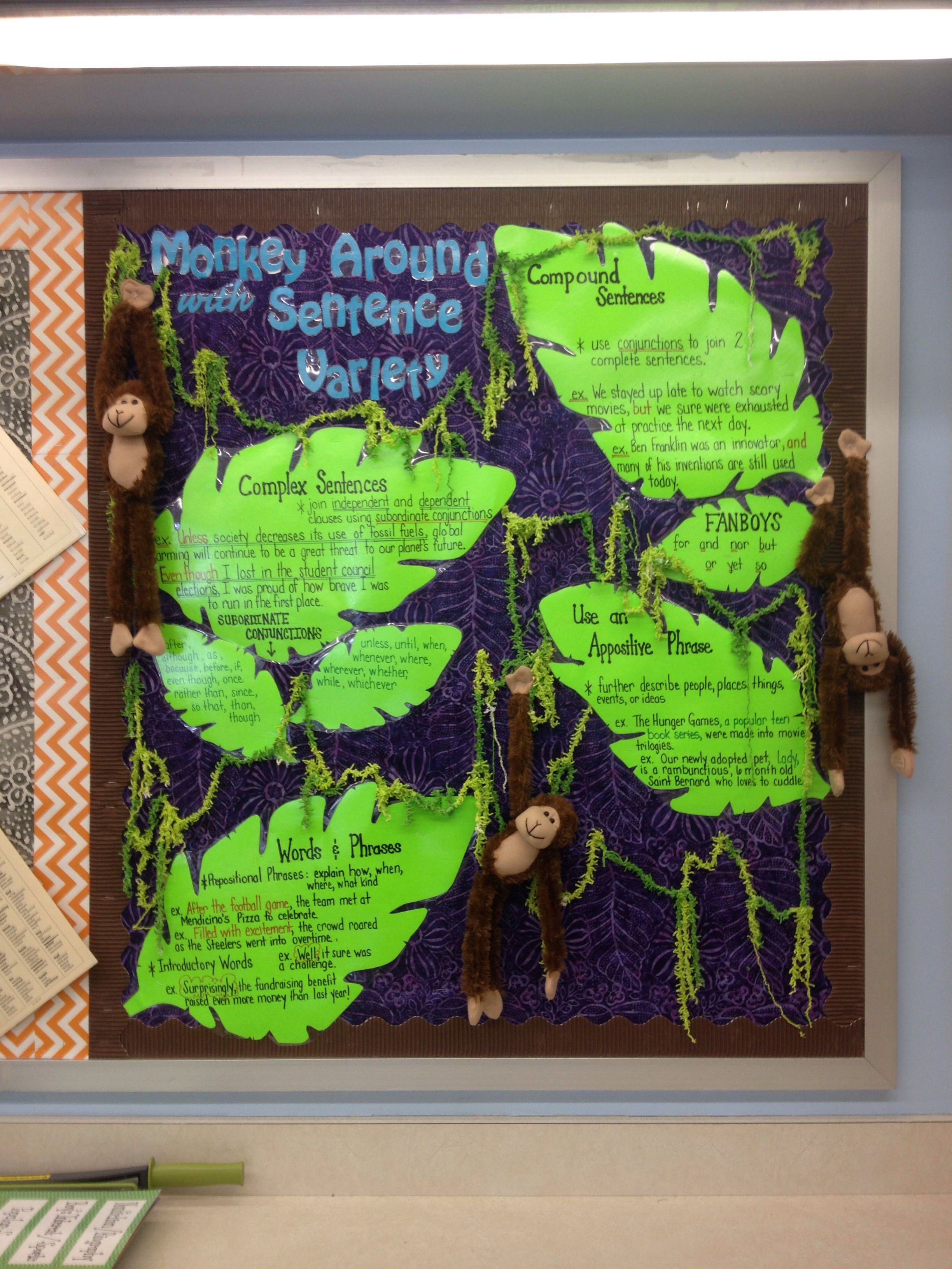 Sentence Structure And Variety Bulletin Board Compound