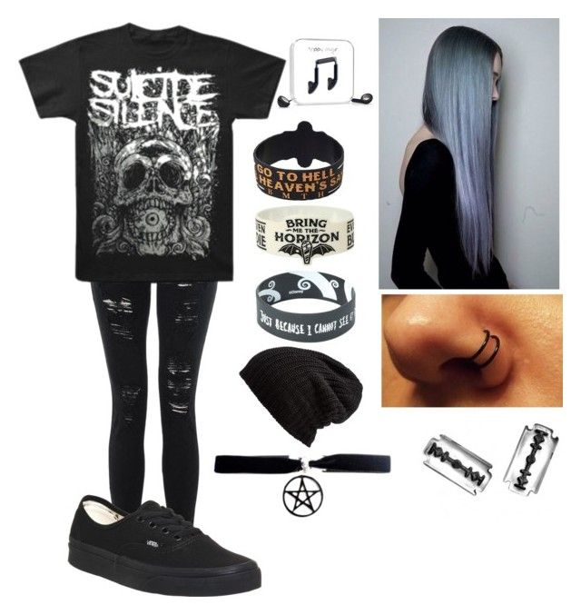 """""""XSuicide SilenceX"""" by islandformisfits ❤ liked on Polyvore featuring Vans, Free People, Happy Plugs, emo, Punk, bands, SuicideSilence and BandMerch"""