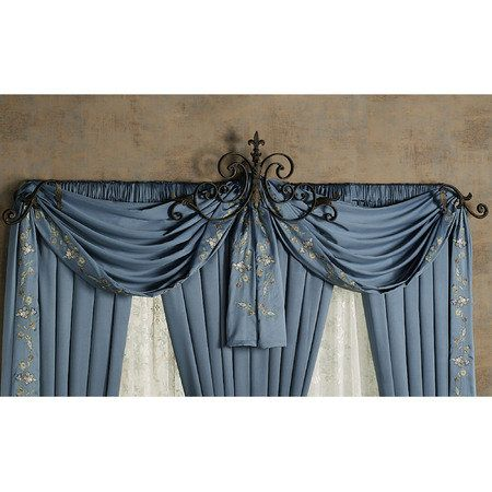 Lovely Swirly Swag Holders Wrought Iron Decor Drapery