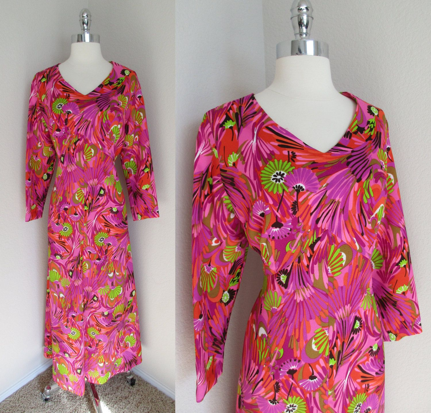 70s Hot Pink, Purple & Green Home Tailored Hostess Dress Flower Print Maxi L by GeekGirlRetro on Etsy