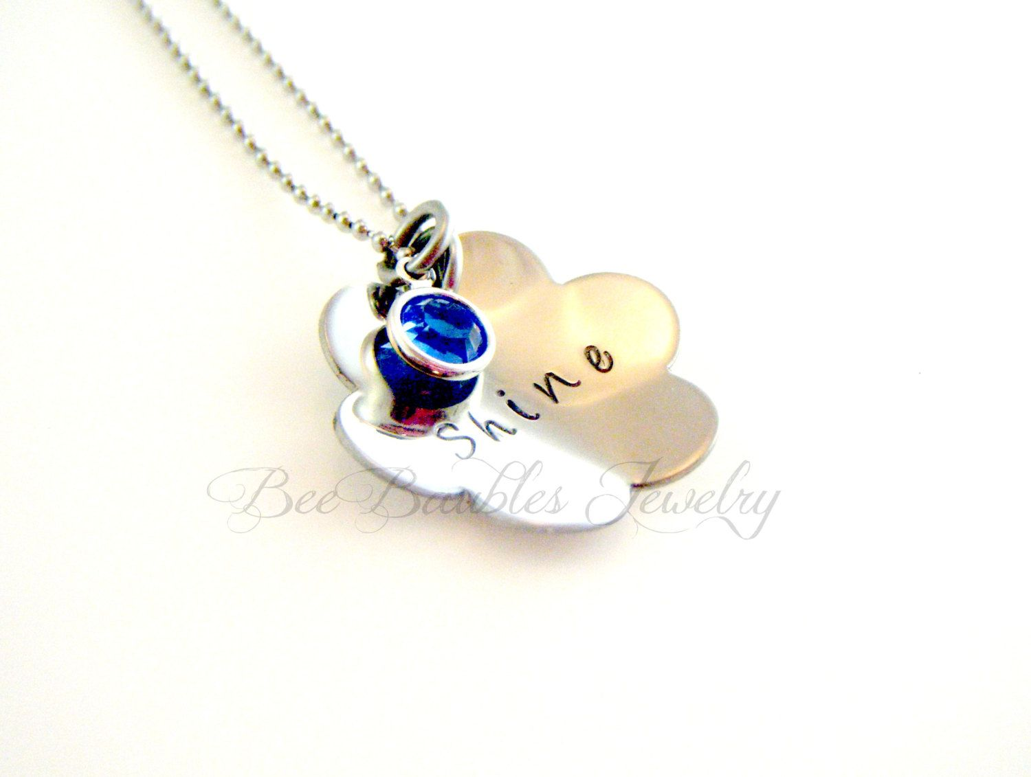 Hand Stamped Personalized Necklace - Mothers Necklace- Mothers Jewelry- Birthstone Necklace. $27.00, via Etsy.