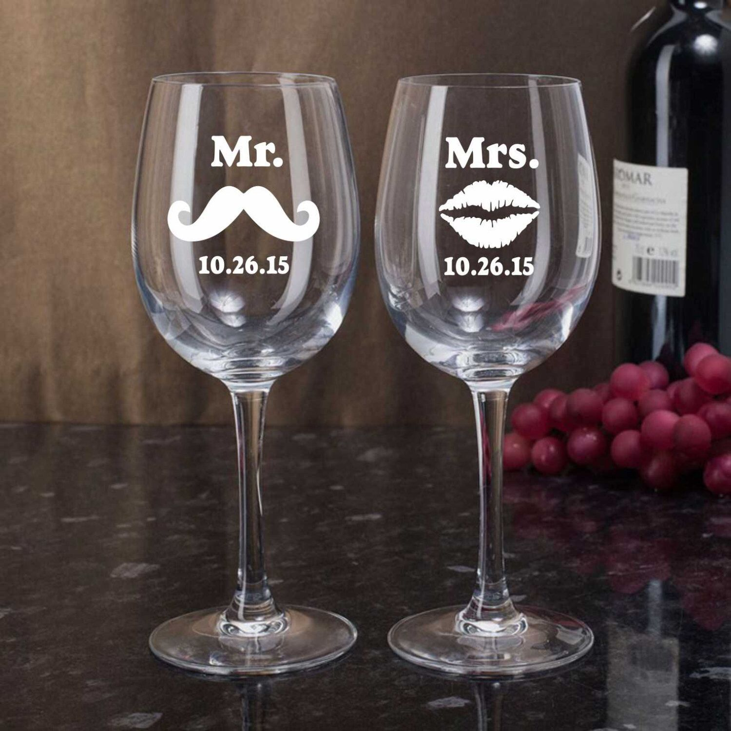 Personalized Etched Wine Glasses, Mr Mrs Wine Glasses