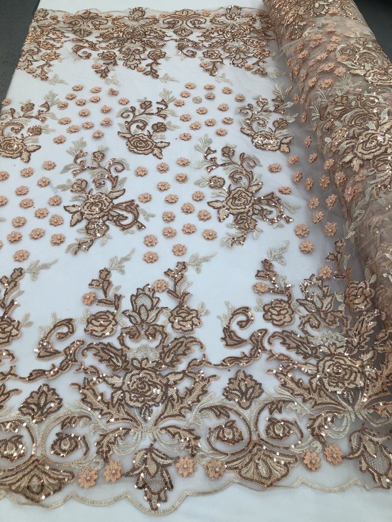 Embroidered Skin Hand Embroidered With Precious Stones Sequins Bridal Flower Mesh Dress Wedding By The Yard Beaded Fabric