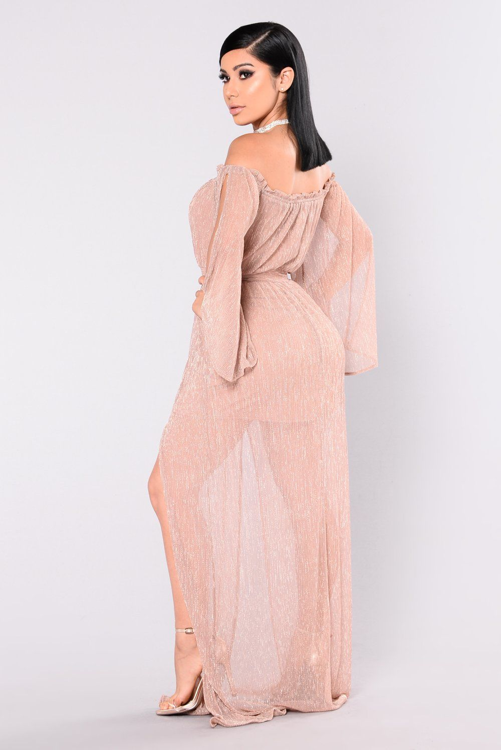 Kiss me slowly off shoulder dress rose gold in clothes