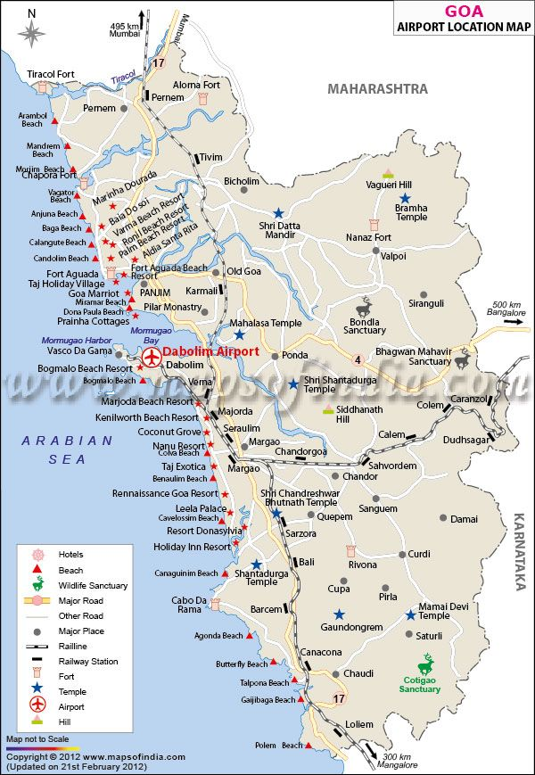 Goa Map with location of airports beaches hotels and resorts