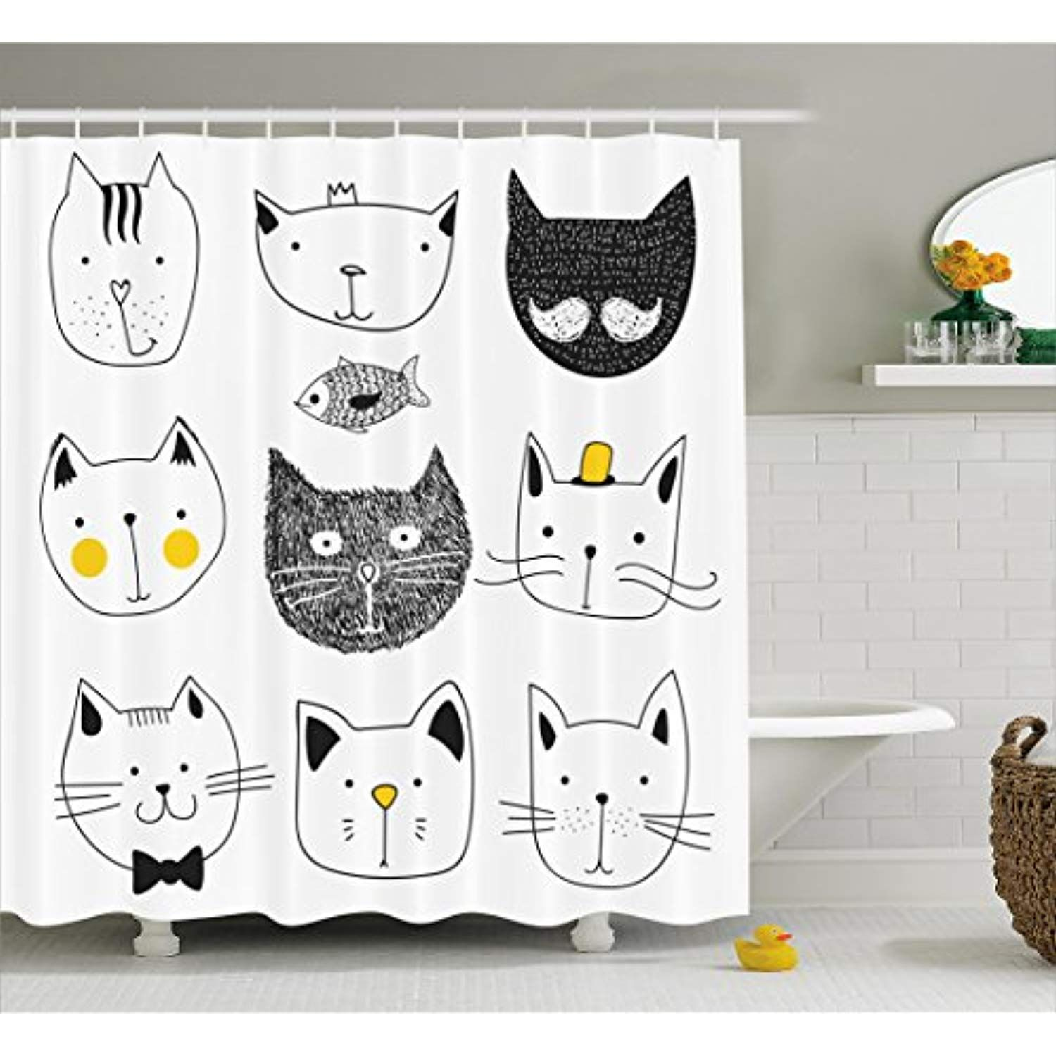 Ambesonne Cat Shower Curtain Stylish Cats With Moustache Bow Tie Hat Crown Fluffy And Fish Humor Faces Cat Shower Curtain Shower Curtain Hooks Bathroom Decor