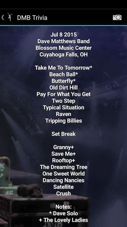 Dave Matthews Band Setlist Blossom Music Center, Cuyahoga